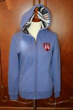 TOMMY HILFIGER WOMEN'S  PURPLE ZIPPER HOODIE WITH CREST SIZE S/P NEW NEW