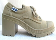 Vtg 90'S.La Halle.Chunky Heel.Platform.Canvas.Snea kers/ Booties.New.5