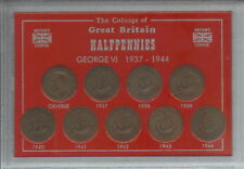 More details for 1937-1944 king george vi halfpennies halfpenny gb coin collector gift type set