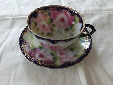ANTIQUE NIPPON HAND PAINTED CUP and SAUCER FLORAL and GOLD DETAILS GORGEOUS