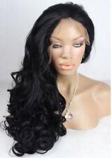 USJF10283 health long black wavy curly  fashion lace front hair wig wigs  women