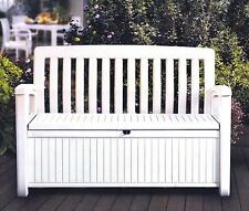 Outdoor Furniture Storage Deck Box Keter 60 Gallon Patio Pool Bench Seat White