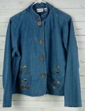 Breckenridge Button Up Top Jacket Fall Leaves Long Sleeve Size Large