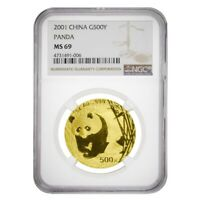2001 1 oz Chinese Gold Panda 500 Yuan NGC MS 69