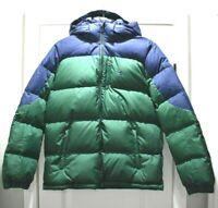 $155 Polo Ralph Lauren Hooded Down Jacket Boy's Size XL 18-20 Green Navy NEW