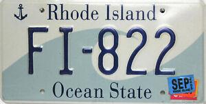 Rhode Island  License Plate, Original Nummernschild USA  FI-822  ORIGINALBILD