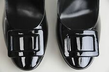 New Roger Vivier Black Patent BELLE De Nuit t.100  New Buckle Shoes 40.5 10