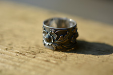 925 Sterling Silver Adjustable Flower Ring Leaf Statement Chunky Rings Nature