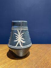 More details for brixham pottery 1960s 70s blue retro vase geometric vintage