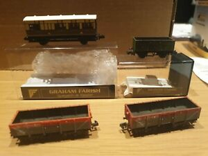 Graham Farish N Gauge Wagons four in total inc 4 wheel coach