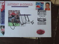 ANTHONY MCDONALD SIGNED 2001  FIRST DAY COVER P-STAMP MELBOURNE FOOTBALL CLUB