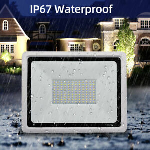 100W LED Flood Light Cool White Outdoor Floodlights Landscape Wall Yard Lamp