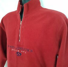 ROOTS Athletics VTG Red 1/4 Zip Reverse Fleece Sweatshirt Spell Out Chest Detail