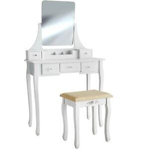 Coiffeuse Table de Maquillage Meuble Blanc avec Miroir et 5 Tiroirs + 1 Tabouret
