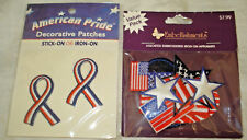 USA AMERICAN PRIDE Red White Blue Ribbon Patches & Pack of Asst  Flag Appliques