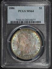 1886 Morgan Dollar PCGS MS-64 Double Rainbow!
