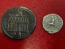 NERO DUPONDIUS & DENARIUS PAIR OF MUSEUM SPECIMEN COINS MACELLUM MAGNUM AN 68