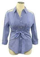 INC Int'l Concepts 2X blue striped long slv button shirt w/tie front & lace trim