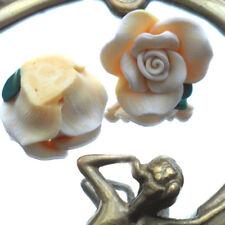 2 Perles FIMO POLYMÈRE - FLEUR EPANOUIE - Jaune nuancée Blanc - 16/30 mm