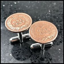 Antique Vintage 100 Year Old Penny Coin Currency Cufflinks Americana Money USA