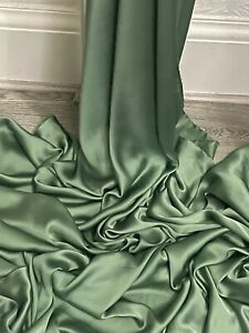 "Sage Green satin Shiny smooth liquid charmeuse Satin Fabric 58""Meter"