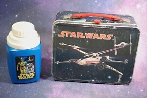 Vintage Star Wars METAL Lunch Box + Thermos King Seeley X-Wing Fighter