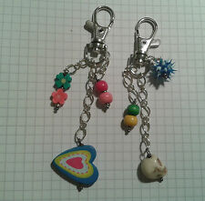 TIBETAN SILVER (2) LARGE LOBSTER  KEYRING +MIXED OBJECTS ON EACH