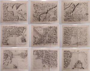 1725 Van der Aa Mirabella 9 Mappe Siracusa Delineatio Syracusarum Antiquarum