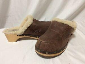 UGG Australia Women's Clogs ABBIE Brows US 9 Eur 40 UK 7.5 Wood Heel Shoes  .G65