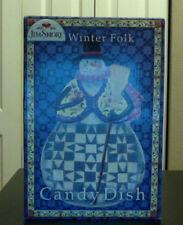 Jim Shore Ceramic Porcelain Candy Dish Winter Folk Handpainted Snowman-Orig Box