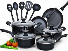 New Cook N Home 15 Piece Non stick Black Soft handle Cookware Set Black 15 Piece