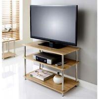 Svar 3 Tier Tv Unit oak Colour Tv Accessories Oak And Chrome Finish Unit Room.