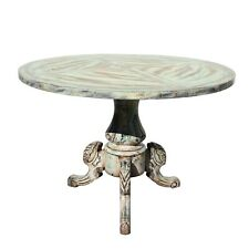 Distressed Mixed Color Tri-Legs Base Round Pedestal Table cs5677