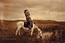 Vintage EDWARD CURTIS American Indian Chief Horse GOLDTONE Photo Engraving 16x20