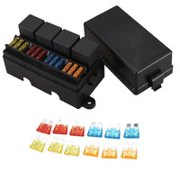 12 Way Blade Fuse Holder Box with 4Pin 12V 40A Relays for Car Truck Trailer Boat