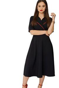 Ladies New Black Contrast Collar Shortsleeve Skater Outing Evening Dress.UK10-18