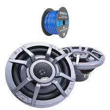 """Clarion 8.8"""" 2-Way 200 Watt Marine Speakers - Gray (Pair), Tinned Speaker Wire"""