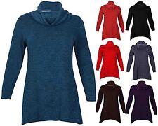 Womens Long Sleeve Ladies Stretch Uneven Hem Knitted Sweatshirt Top Plus Size