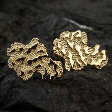 Solid 14K Gold Nugget Earrings For Men Hip Hop 925 Sterling Silver Screw Back
