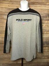 Vintage Ralph Lauren Polo Sport Long Slv Shirt Medium Gray Light Sweater Striped