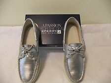 SPERRY TOP SIDER A/O Silver Metallic Leather Boat Shoe Size 9 EU 40 NIB $95