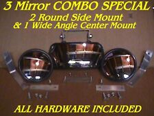 3 SkidSteer MIRRORS 2 Side & 1 Center skid steer loader Fits bobcat gehl cat etc
