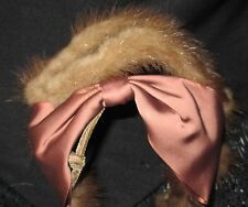Vintage antique women's / ladies hat, mink fur and satin, fits all, browns
