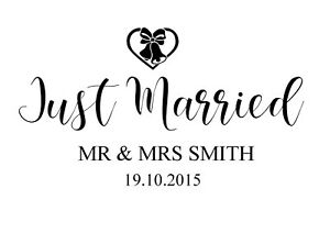 Personalised Just Married wedding car, Mirror decal self adhesive sticker