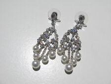 FAUX DIAMONDS GLASS PEARL SILVER RHODIUM OVER COPPER CHANDELIER PIERCED EARRINGS