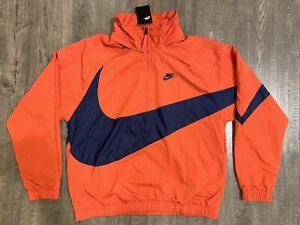 Nike Big Swoosh Anorak Half Zip Jacket Mens SMALL S Red Navy Blue AJ1404-657 NWT