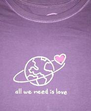 "LIFE IS GOOD ""All We Need is Love"" Heart Orbit-MEDIUM-Violet S/S T-SHIRT-NWT"