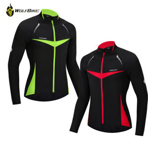Mens Cycling Jersey Long Sleeve Warm Thermal Fleece Top Bike Cycle Jacket Coat