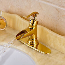 Deck Mount Brass Gold Polished Bath Sink Faucet Waterfall Spout Basin Tap Mixer