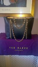 TED BAKER ExL Black Rigid Saffiano Leather Gold Entwined Chain Handles Tote Bag